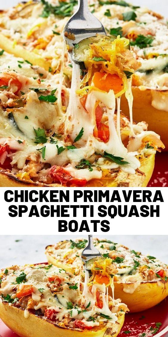 Chicken Primavera Spaghetti Squash Boats