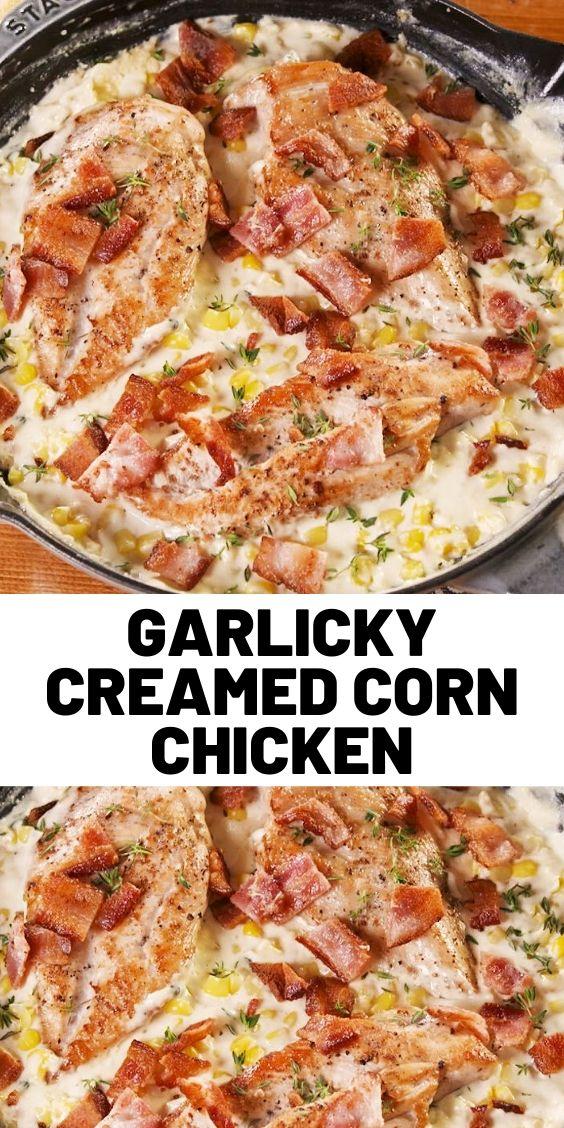 Garlicky Creamed Corn Chicken