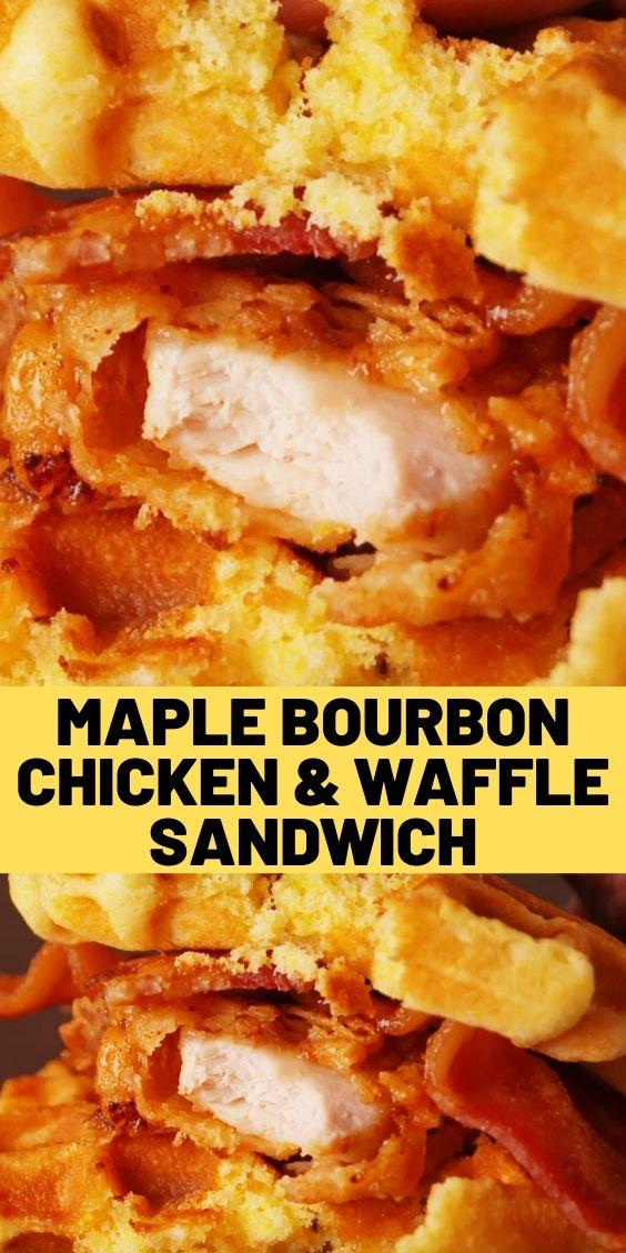 Maple Bourbon Chicken & Waffle Sandwich