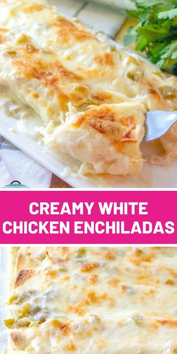 Easy Creamy White Chicken Enchiladas