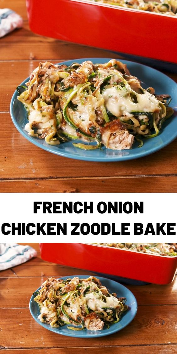 French Onion Chicken Zoodle Bake