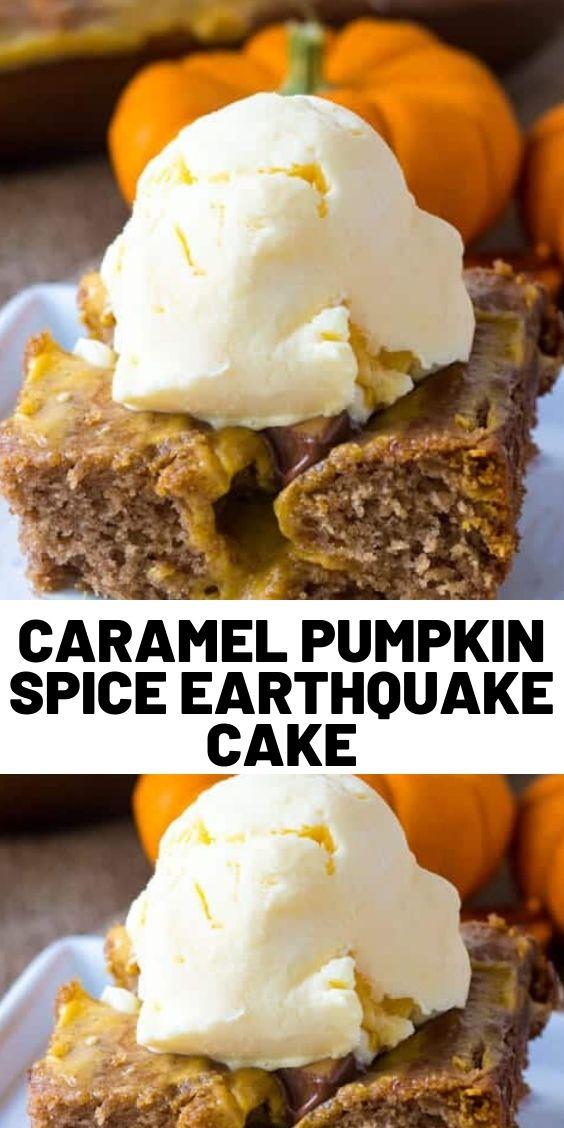 Caramel Pumpkin Spice Earthquake Cake
