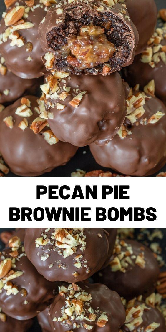 Pecan Pie Brownie Bombs