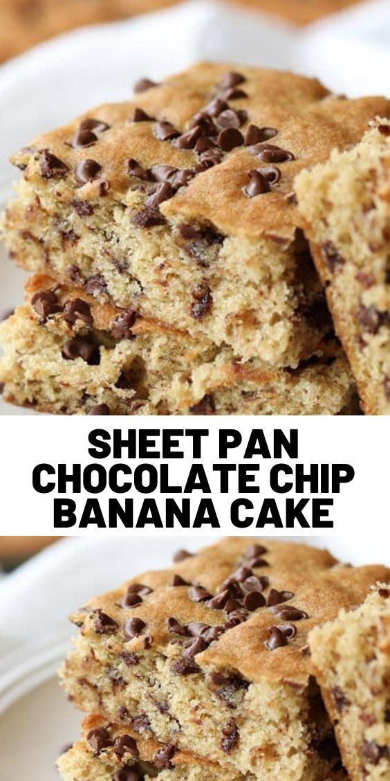 Sheet Pan Chocolate Chip Banana Cake
