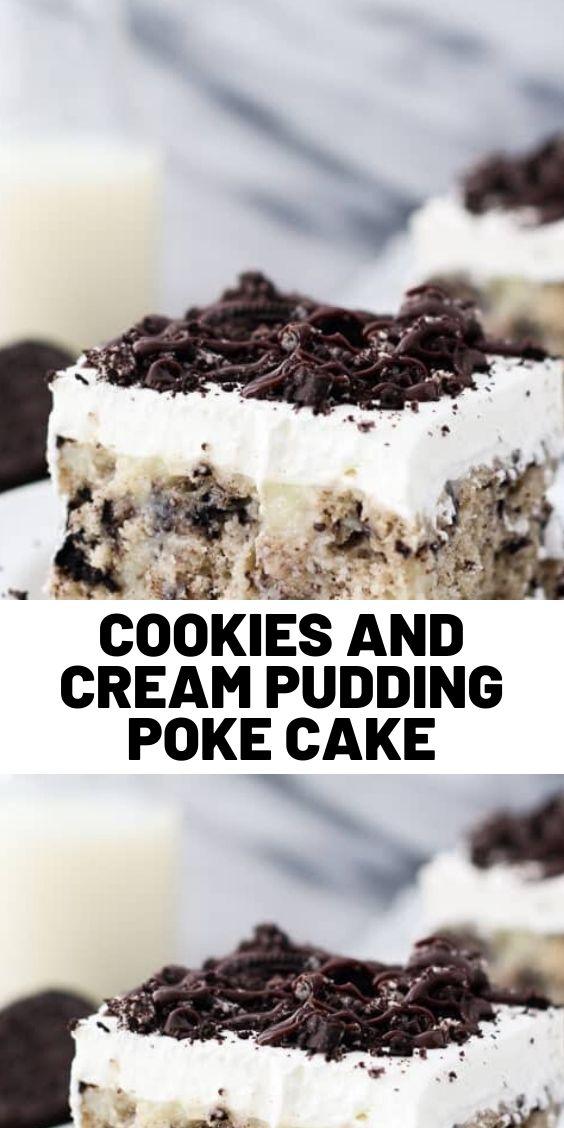 Cookies and Cream Pudding Poke Cake