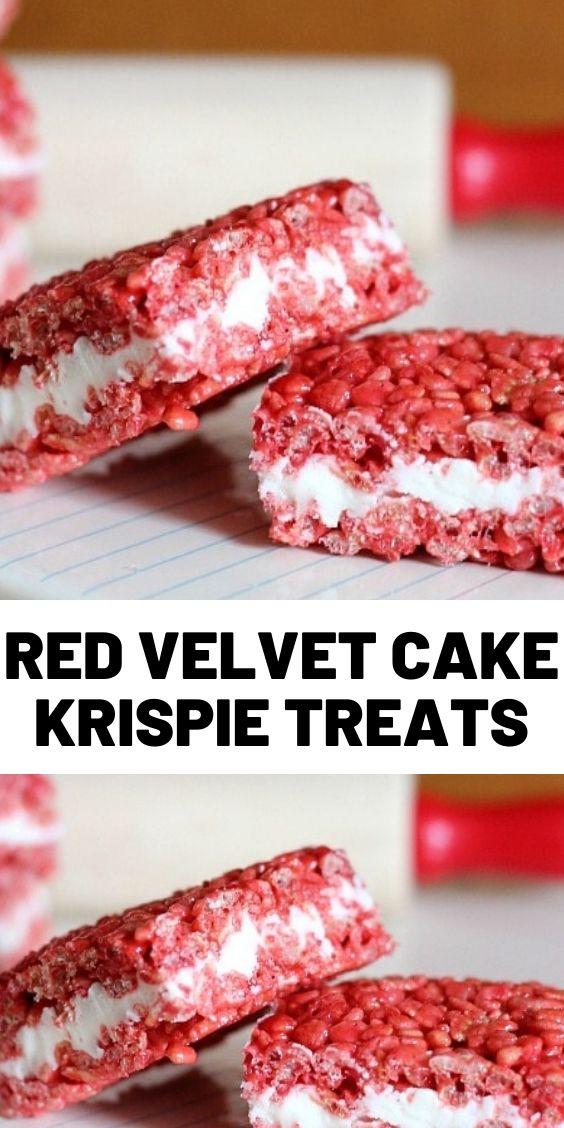 Red Velvet Cake Krispie Treats