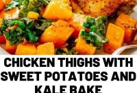 Chicken Thighs with Sweet Potatoes and Kale Bake